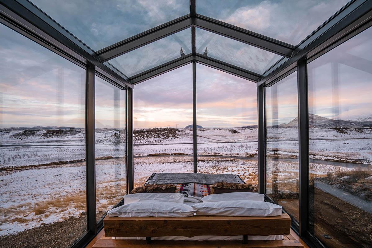 Panorama Glass Lodge Iceland Island ungewöhnliche Ferienhäuser