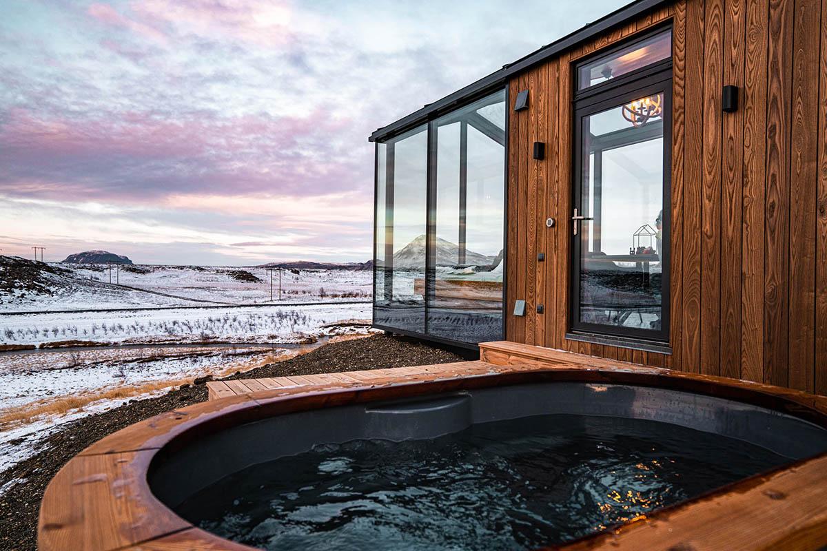 Panorama Glass Lodge Iceland Island Hot tub ungewöhnliche Ferienhäuser
